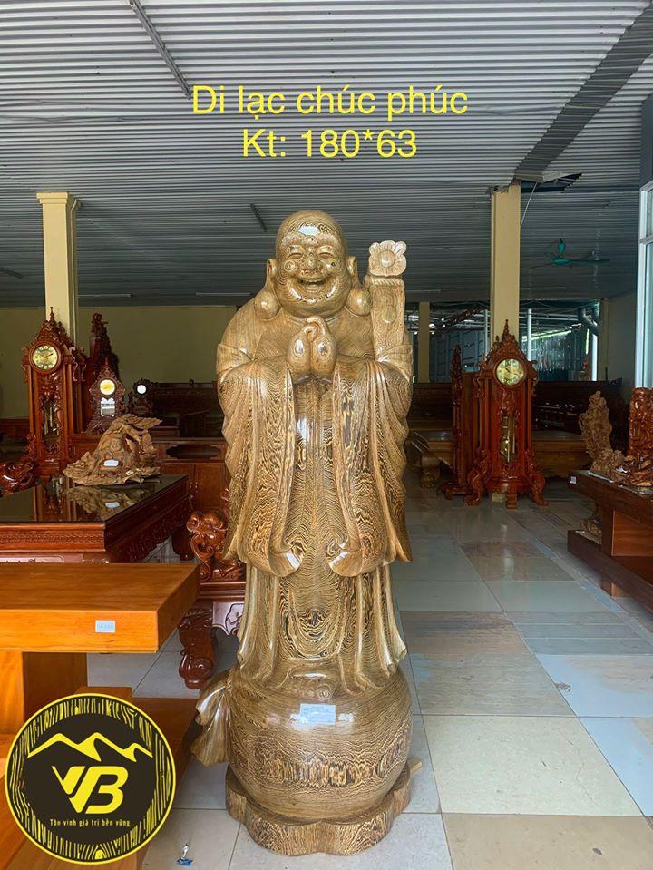 Tượng Cụ Di Lặc Chúc phúc gỗ Mun DL06 1
