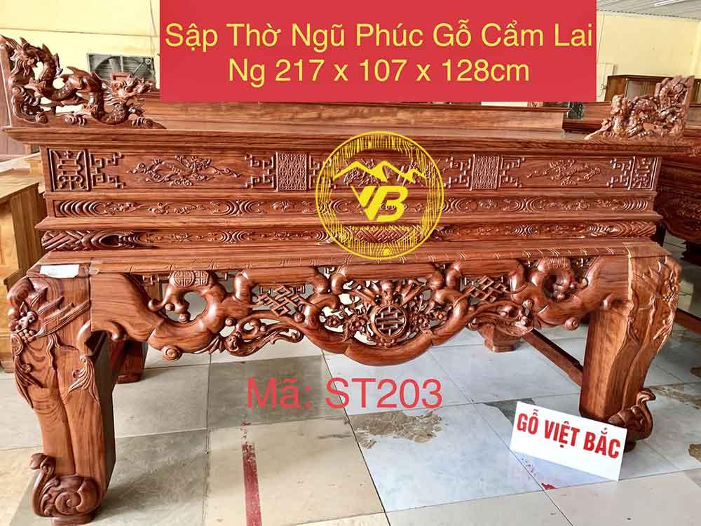 Sập Thờ Ngũ Phúc Gỗ Cẩm Lai siêu đẹp ST203 1
